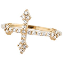 14 Karat Yellow Gold and White Diamond Cross Your Fingers Ring