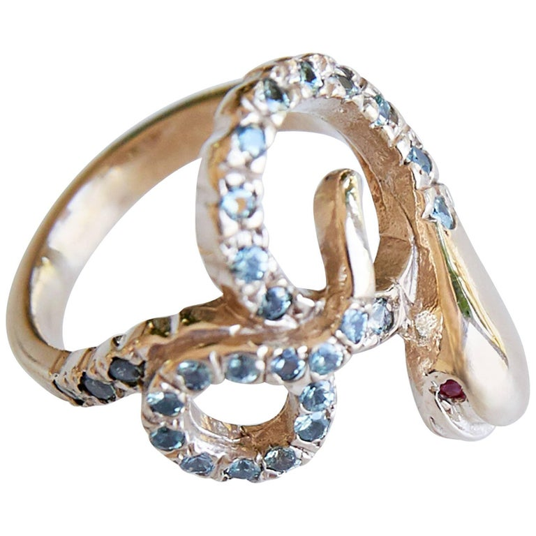 Gold Snake Ring Cocktail Ring Victorian Style Sapphire Ruby J Dauphin For Sale