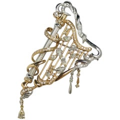Matsuzaki Pink Gold Marquise Pear Shape Diamond Harp Brooch Pendant