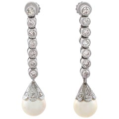 1960s Diamond and Cultured Pearl Platinum Drop Earrings