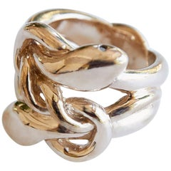 """The life is but a dream"" Double snake twisted bronze ring with black diamonds"