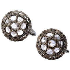 Victorian Dome Cluster Rose Cut Diamond Earrings