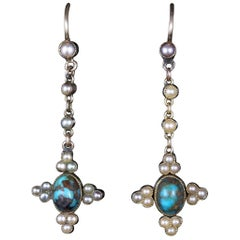 Antique Victorian Turquoise and Pearl 18 Carat Earrings, circa 1880