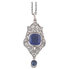 Synthetic Sapphire and Diamond Pendant