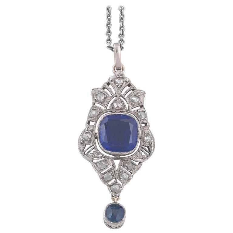 Synthetic Sapphire and Diamond Pendant