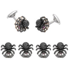 Sterling Silver Black Spinel Spider Dress Stud Set