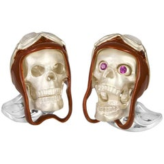 Deakin & Francis Skull Cufflinks with Brown Vintage Aviator Pilot Hat
