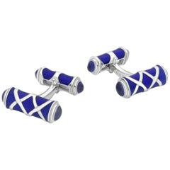 Sterling Silver Blue Cross Hatch Design Cufflinks with Sapphire
