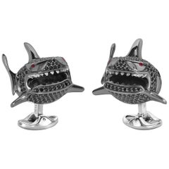 Sterling Silver Black Spinel Shark Cufflinks