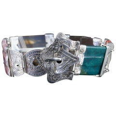 Antique Victorian Scottish Buckle Bracelet Silver, circa 1860