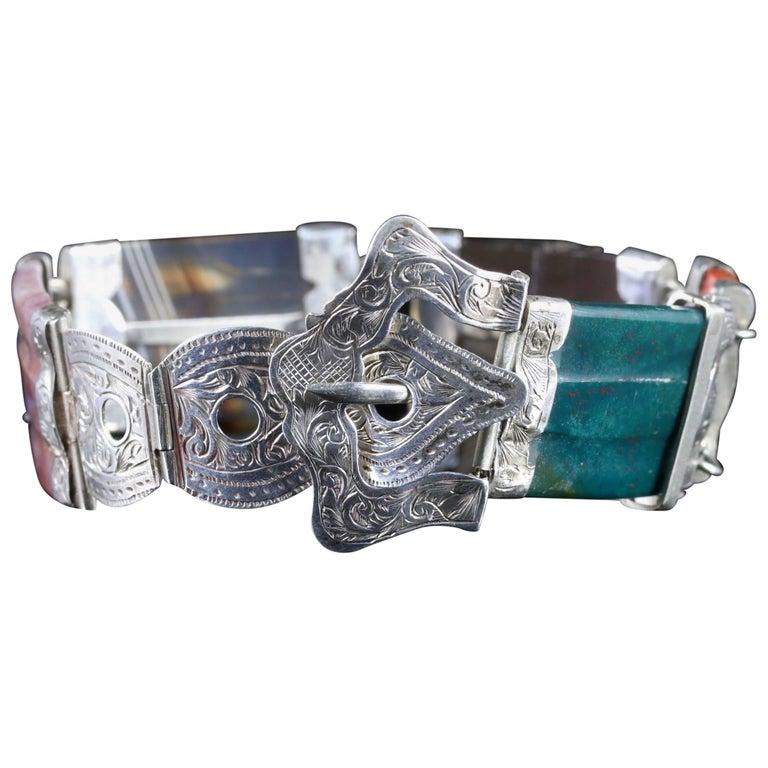 Antique Victorian Scottish Buckle Bracelet Silver, circa 1860