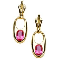 Pink Rubellite Tourmaline 18 Carat Yellow Gold Earring Pair