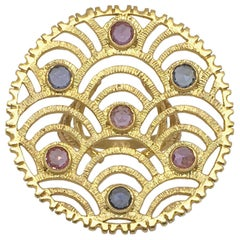 LALAoUNIS Nubia Ring in 18k Yellow Gold with Light Pink and Blue Sapphires