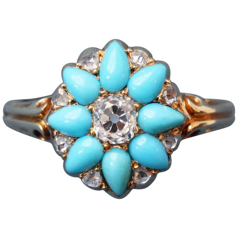 Victorian Gold Ring with a Turquoise and Diamond Flower