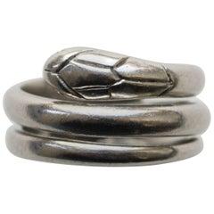 French Art Deco Platinum Snake Ring