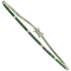 Emerald and White Diamonds Gold Tennis Bracelet