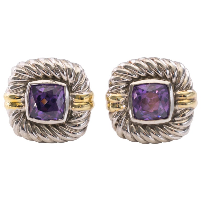 David Yurman Albion Amethyst Sterling Silver And 14 Karat Yellow Gold Earrings For