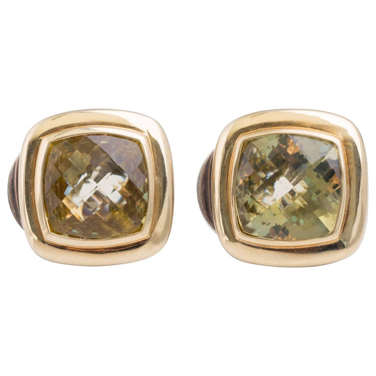 David Yurman Albion Lemon Citrine and 18 Karat Gold, Sterling Silver Earrings
