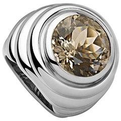 Certified 7.03 Carat Smoky Quartz Fashion Ring