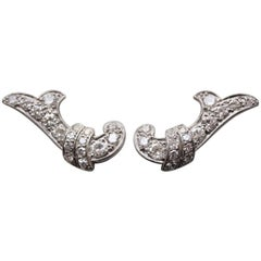 Platinum and White Gold and Diamond Earclips