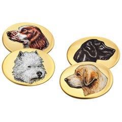 Vintage Longmire London Gold Enamel Hunting Dog Cufflinks
