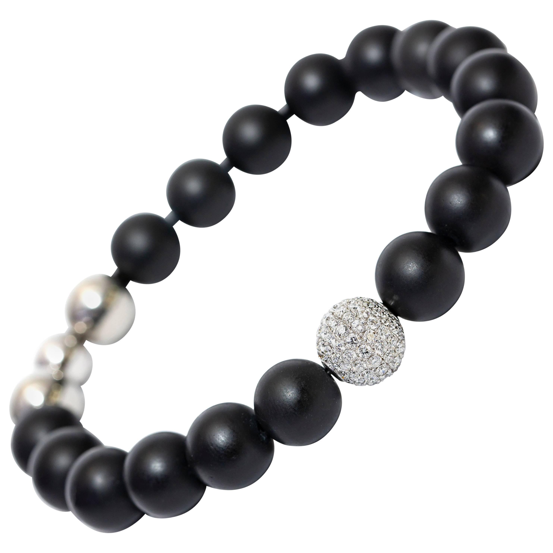 1.80CT Round White Diamond G/VS 18KT Gold Steel Black Agate Men's Bead Bracelet