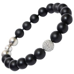 1.80CT Round White Diamond G/VS 18KT Gold Steel Black Agate Men's Bead Bracelet