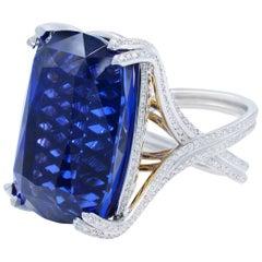 Magnificent Tanzanite Diamond Ring 77.60 Carat AGL Certified No Enhancements