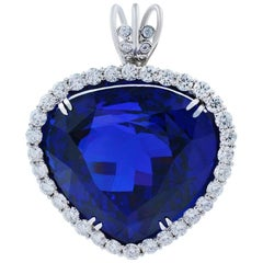 AGL Certified 121.48 Carat Violetish Blue Tanzanite Diamond Heart Pear Pendant