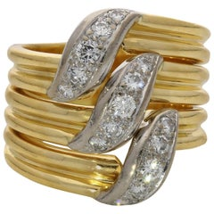 Cartier 18 Carat Gold and Diamond Dress S-Shape Diamond Wide Band Ring