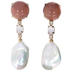 Peach Moonstone and Pearl Drop Earrings