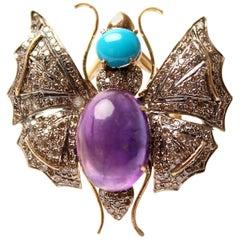Clarissa Bronfman Turquoise, Amethyst, Diamond Butterfly Ring