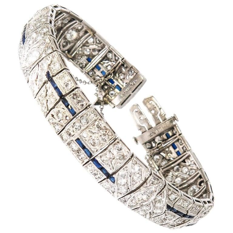 Diamond and Sapphire Platinum Bracelet