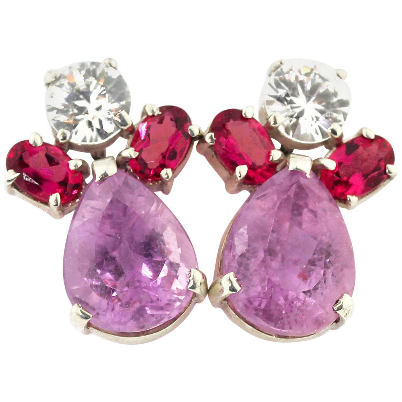 Gemjunky Elegant Bright White Sapphires, Red Rubelites & Pink Kunzite Earrings