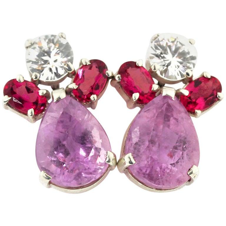 Handmade Sapphires, Rubelites and Kunzite Stud Earrings
