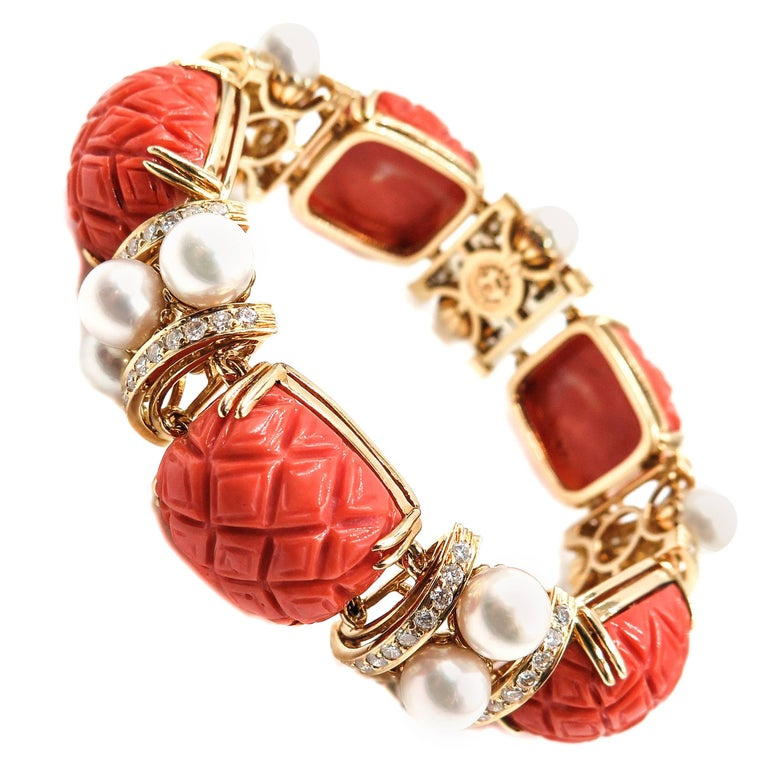 Carved Coral, Pearls and Diamond Bracelet by Seaman Schepps