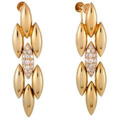 Cartier Gentiane Diamond Pave Yellow Gold Dangle Screw Back Earrings