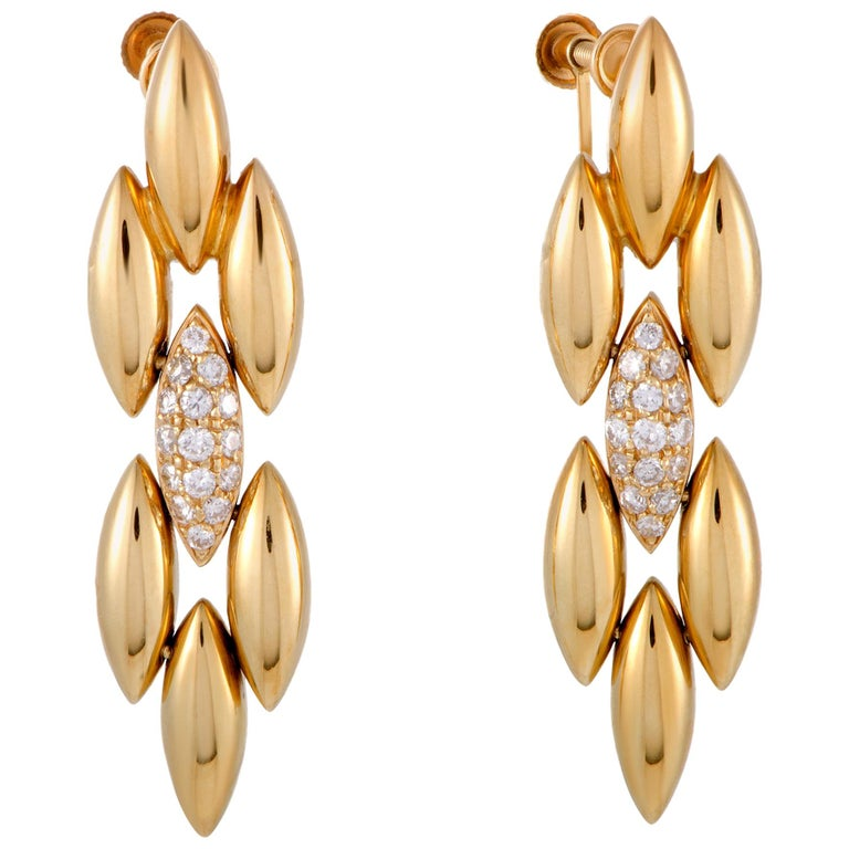 Cartier Gentiane Diamond Pave Yellow Gold Dangle Screw Back Earrings For Sale