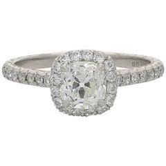 Hancocks 0.90 Carat Old Mine Brilliant Cut Diamond and Platinum Cluster Ring