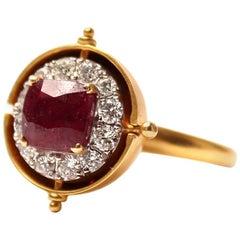 Clarissa Bronfman Ruby, Diamond, Gold 'Peekaboo' Ring