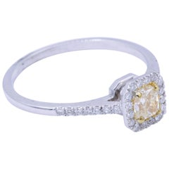 Yellow Square Radiant Diamond Engagement Ring 0.32 Carat