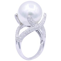 South Sea Pearl and Diamond Elegant Ring