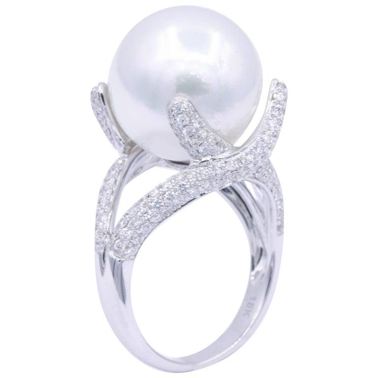 South Sea Pearl and Diamond Elegant Ring