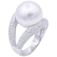 18 Karat South Sea Pearls and Diamond Cocktail Elegant Ring