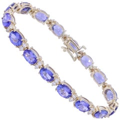 Yellow Gold Tanzanite Tennis Patterned Bracelet
