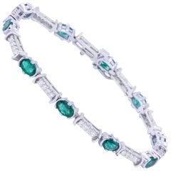 Tennis Armband aus Smaragd und Diamant
