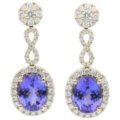 Oval Tanzanite Diamond Drop Earrings 4.43 Carats 18K