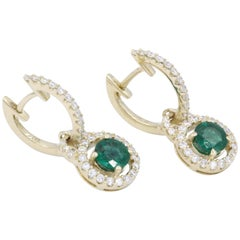Round Emerald Drop Yellow Gold Earrings
