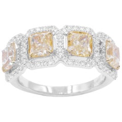 Four Yellow Diamonds Square Radiant and Diamonds Cocktail Ring