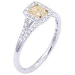 Yellow Radiant Diamond Engagement Cocktail Ring